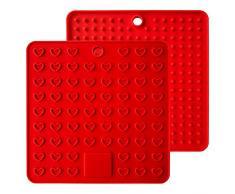 Baomasir 2 pezzi in silicone isolante tappetino di qualità alimentare Honeycomb presine antiscivolo termoresistente tovaglietta per Pot Pan Bowl Cup, Rosso