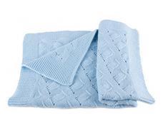 Pregiata Coperta da Bambino in Cashmere al 100% (Cashmere Baby Blanket) - Blu - Realizzato a mano ad in Scozia con Love Cashmere con Love Cashmere
