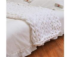 Nicole - Coperta in lana grossa lavorata a maglia, ideale come decorazione per la casa, bianco, 50*50cm