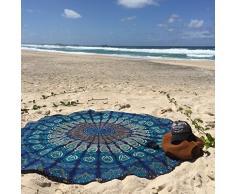 BhagyodayFashions - Telo in cotone rotondo con mandala, in stile hippy, utilizzabile come copriletto, arazzo decorativo, tovaglia, telo da mare, pannello decorativo, tappeto per yoga, diam. 177 cm Realizzato da Bhagyoday.