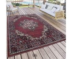 Paco Home Tappeto per Interni e per Esterni Motivo Orientale Bordeaux Rosso, Dimensione:60x100 cm