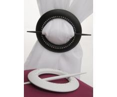 Fermatenda Fermaglio tenda schermo piatto con strass ca. 16 cm bianco o nero