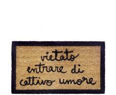 laroom Zerbino Motivo Vietato Entrare di Cattivo Umore, Jute And Base Antiscivolo, Marrone, 40Â x 70Â x 1.8Â cm