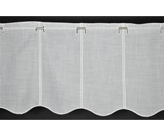 16 Cm tendina a vetro aspetto Lino Formaggio Bianco Alto 35 Cm