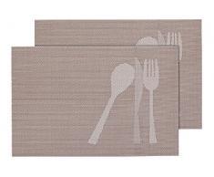 2 PZ di tovagliette americane decorative, set da tavola in PVC di alta qualità, Misure 45 x 30 cm, per decorazione molto elegante e durevole tavolo cucina, TS-23 beige