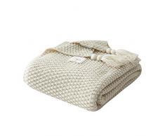 AUSTINCIAGA - Coperta in maglia per divano, copriletto e tappeto da letto, stile nordico, caldo e morbido, fatta a mano, per spiaggia, picnic, tutte le stagioni, 130 x 170 cm, colore: beige
