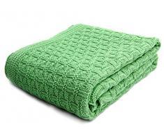 SonnenStrick, Coperta morbida per bambini, puro cotone, lavorata a maglia, 100 x 90 cm, Verde (grün)