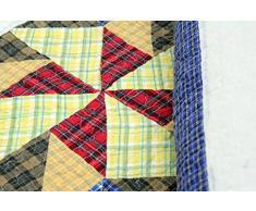 Copriletto Olivia 230 x 250 cm Patchwork triangolo a quadri plaid Quilt rustico tovaglia