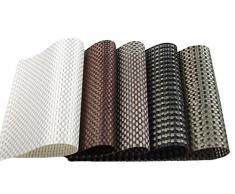 TININNA Set da Tavola elegante e durevole - Tovaglietta in Plastica Intrecciata , Set di 4 pezzi, lavabili(cielo Cachi)