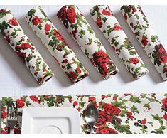 Set di 6 tovaglioli di cotone; Rosso Bianco Verde disegni floreali; Tavolo Primavera fogli decorazione