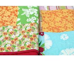 1001 Wohntraum 17jn29 Quilt Paula gufo e fiori, 180 x 220 cm, Coperta plaid Gufi Patchwork Vintage Shabby,, Multicolore