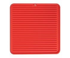 InterDesign Lineo Scolapiatti da appoggio, Tappetino in silicone compatto ideale come sottopentola, asciugapiatti e scolaposate, rosso
