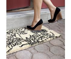 Entryways - Zerbino, in fibra di cocco, tessuto a mano, motivo: bouquet di fiori, 40 x 60 cm