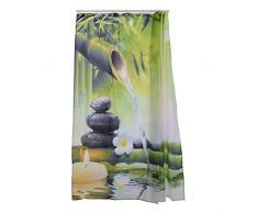 Tenda Doccia in Tessuto idrorepellente e antimuffa, aihome bambù bagno antiscivolo con 12 ganci, Poliestere, B