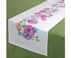 Serie di biancheria da tavola color pastello con fiori - 7 tovaglie, Poliestere, bianco, 40 x 140 cm