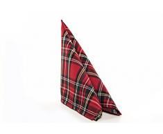 Tovaglia centrotavola, runner da tavolo, con tovaglioli, motivo scozzese, Natale, 50 x 50 cm, rosso