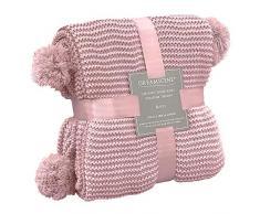 Dreamscene, coperta a maglia grossa per divano e divano grande, lavorata a maglia, spessa e calda, con pon pon, 150 x 180 cm, colore: rosa cipria