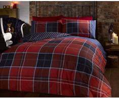 Argyle, set di biancheria da letto king-size, con copripiumino trapuntato e 2 federe doppia-faccia, motivo in tartan scozzese, colore: rosso