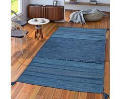 TT Home Tappeto Tessuto A Mano Soggiorno Natura Tappeto Tessuto Kelim Moderno Cotone Righe Blu, Größe:120x170 cm