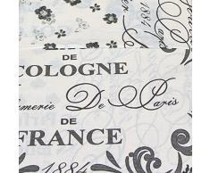 Just Contempo - Elegante completo copripiumone reversibile per letto matrimoniale modello Eau de Cologne con scritte in francese Cotone panna (grigio) copripiumino king size (Kingsize)