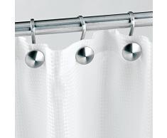 iDesign Ganci per tende doccia, Moderni anelli tenda doccia in acciaio spazzolato, Set da 12 supporto tenda doccia, argento opaco