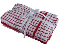 CONFEZIONE DA 3 - Superdry Singolo Rosso/Bianco 40cm x 65cm confezione da 3 EQYPTIAN TERRY STROFINACCIO