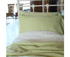 Linenme 50 x 90 cm federa per cuscino in lino, verde chiaro