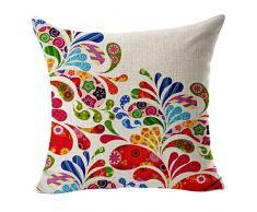 Sannysis® fodere per cuscini federa vintage di cotone stampato floreale divano(rosa caldo)