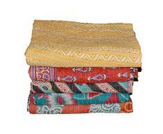 Marudhara Fashion Trapunta Indiana Patchwork in Cotone Kantha, copriletto Doppio, Coperta (Doppio Motivo Floreale Multicolore)