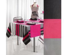 Lulu Castagnette 1820065 - Runner da tavola in cotone, 40 x 140 cm, colore nero tinta unita
