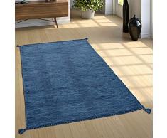 Paco Home Tappeto Design Tessuto Kelim Lavorato A Mano 100% Cotone Moderno mélange Blu, Dimensione:120x170 cm