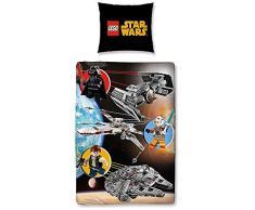 LEGO Star Wars Biancheria da letto per bambini in flanella con motivo double face, calda e morbida, 2 pezzi federa da 80 x 80 cm e copripiumino da 135 x 200 cm, in 100% cotone.
