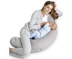 Sei Design - Cuscino per allattamento, 170 x 30 cm Imbottitura: palline di fibra 3D prive di sostanze nocive certificate Ökotex. Fodera con cerniera e ricamo di alta qualità. Ideale in viaggio Taup