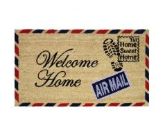 """JVL - Zerbino in fibra di cocco con retro in PVC, motivo francobollo """"Welcome Home"""", 40 x 70 cm"""