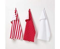 Homescapes - Set di 3 strofinacci / asciuga-piatti da cucina, 100% cotone, rosso e bianco, con motivo a pois e righe rosse, dimensione: 50 x 70 cm