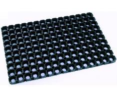 DOMINO, Pesante zerbino di gomma per uso esterno, 80 x 120 cm. Colore nero.