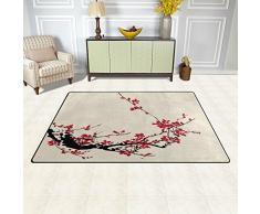 Naanle Giappone giapponese stile vintage tappeto antiscivolo per per camera da letto, soggiorno, cucina 50 x 80 cm (1.7 'x 2.6' ft), tradizionale fiore Sakura Cherry Blossom nursery tappeto pavimento tappetino yoga, Multi, 100 x 150 cm(3' x 5')