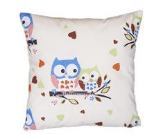 Federa per cuscino decorativo 40 x 40 cm, motivo: gufo, colore: bianco/blu Large