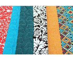 1001 Wohntraum Copriletto Zoe Strisce Boho Shabby Chic Vintage Plaid Coperta Quilt, Cotone, Bunt, 230 x 250cm