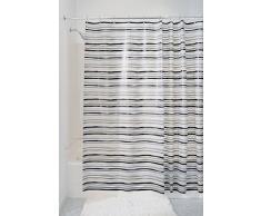 mDesign tenda doccia in PEVA senza PVC – misure: 180 x 180 cm – colore: bianco/grigio/nero a strisce – tende doccia tessuto idrorepellente – tende da bagno