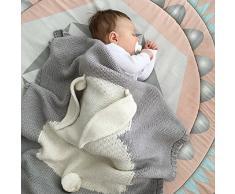 TININNA Autunno Caldo Morbido Comodo Baby Wrap Coperta Lavorato a maglia modello di coniglio Coperta Aria Condizionata Coperta per bambini(Beige)