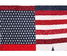 1001 Wohntraum 14J12 Quilt Bill 180 x 220 cm Stars n 'Stripes USA stella plaid copriletto Patchwork soffitto Shabby