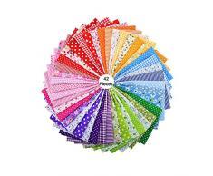 Stampato Tessuto in Cotone,42 Pezzi Patchwork Cotone,Tessuti Stampati,Tessuto Cotone Stoffa,per Cucire Stoffa a Metro DIY Mestieri Cucito Hobby Creativi (25 cm * 25 cm)