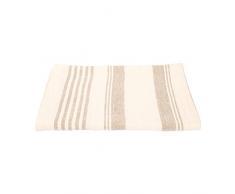 LinenMe 105 x 1420 cm asciugamano da bagno in lino a tela operata Linum, crema