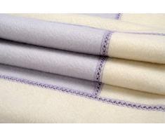 Coperta bambino in Cashmere 100% Cashmere Copertina Baby, Colore Lilla DP e Bianco Naturale. 70 x 90 cm
