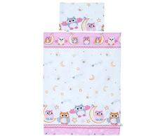 LCP Kids - Set biancheria di 2 pezzi lenzuola per lettino neonati bambino 135x100 + 60x40 - Gufi rossa