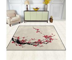 Naanle Giappone giapponese stile vintage tappeto antiscivolo per per camera da letto, soggiorno, cucina 50 x 80 cm (1.7 'x 2.6' ft), tradizionale fiore Sakura Cherry Blossom nursery tappeto pavimento tappetino yoga, Multi, 150 x 200 cm(5' x 7')