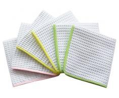 Sinland Waffle Weave microfibra panni per Pulizia del Viso strofinacci da cucina 33cmx33cm Bianco con edge colorato (Rosa+Verde chiaro+Giallo) Confezione da 6