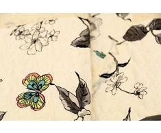1001 Wohntraum 17jn16 Quilt Leni fiori uccello, 220 x 240 cm, Coperta plaid, Vintage Shabby Coperta, Ranken Beige
