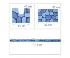 Relaxdays Set Tappetini da/per Bagno con Ottica/Design a Pietra, Cotone, Blu, 80 x 50 cm,
